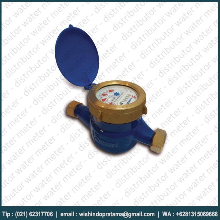 Cara perhitungan Water Meter Amico 1/2 inch adalah dengan menggunakan turbin (baling-baling) atau sensor